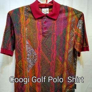 Coogi Golf 1990's Men's Abstract Design PoloShirt